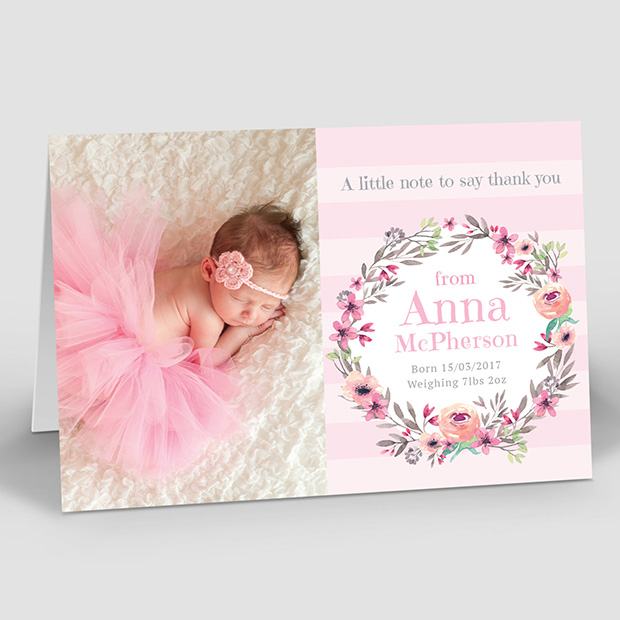 Floral Dance, baby thank you card for girls by Cedar Tree