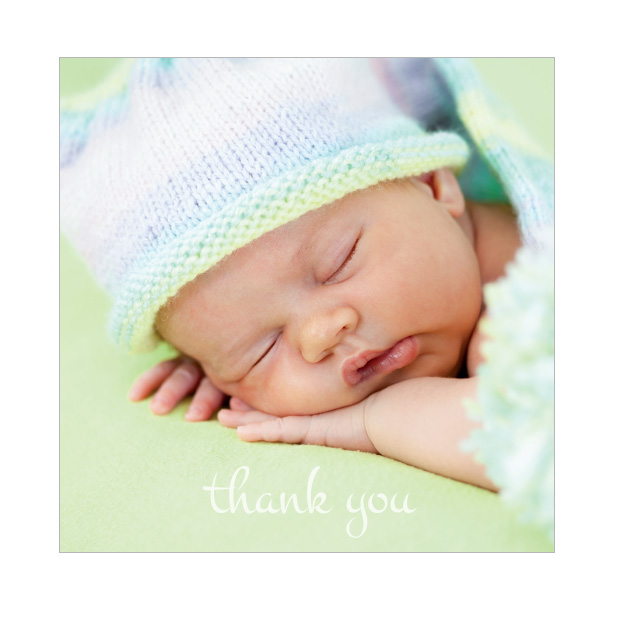 Photo Frame - Girl, baby thank you card for girls, square format