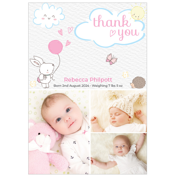 Care Free - Girl, baby thank you cards for girls