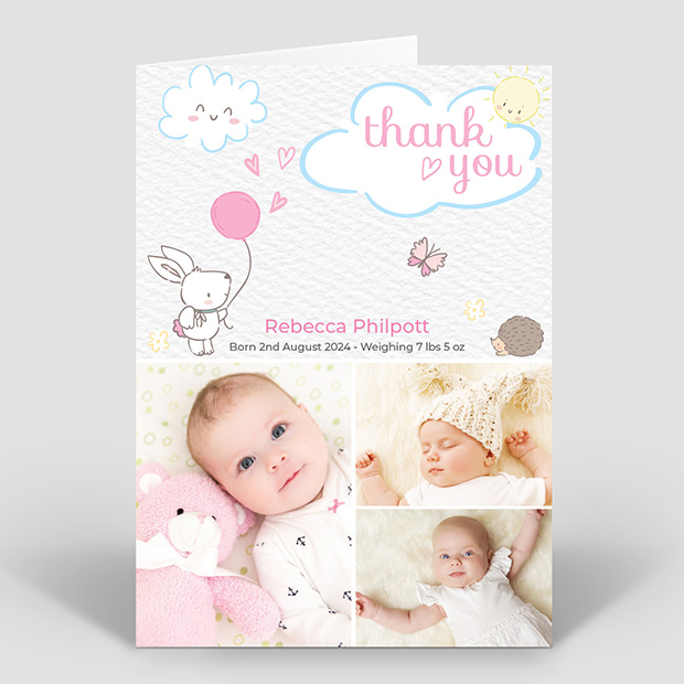 Care Free - Girl, baby thank you card for girls by Cedar Tree