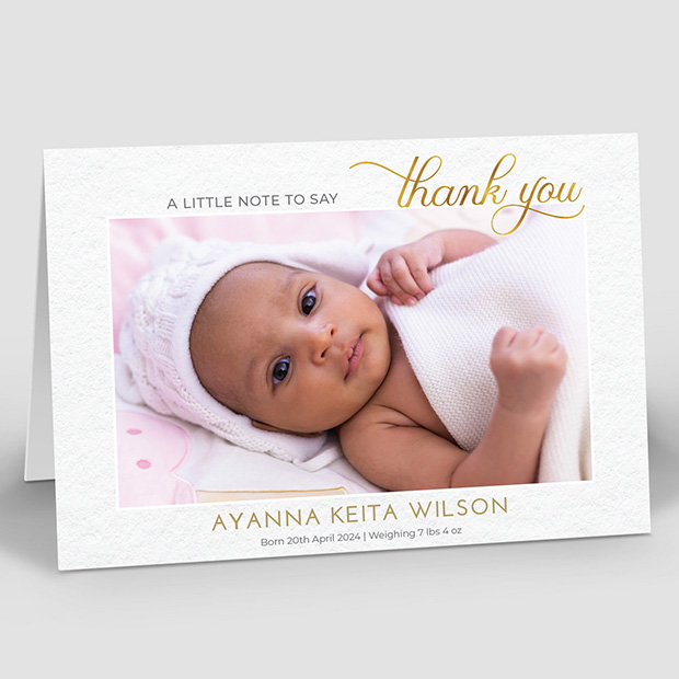 Gold Message, baby thank you card for girls by Cedar Tree