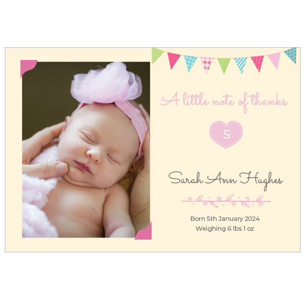 Initial Heart - Girl, baby thank you card for girls by Cedar Tree, landscape version.