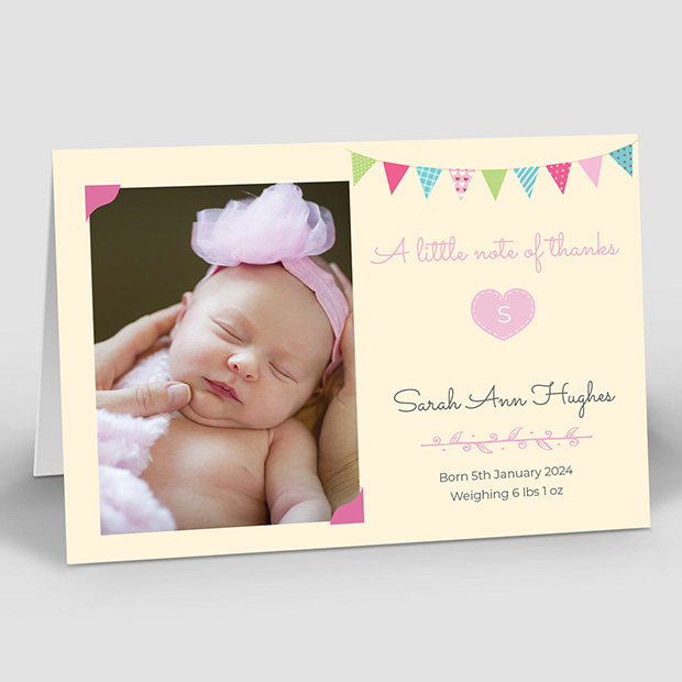 Initial Heart - Girl, baby thank you card for girls by Cedar Tree