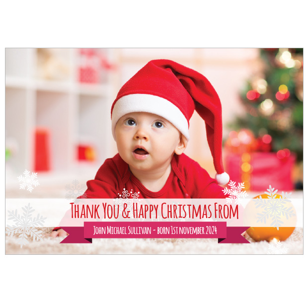 Let It Snow - Christmas themed Baby Thank You Card by Cedar Tree Ireland