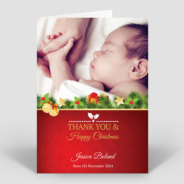 Bells & Holly Christmas themed baby thank you card