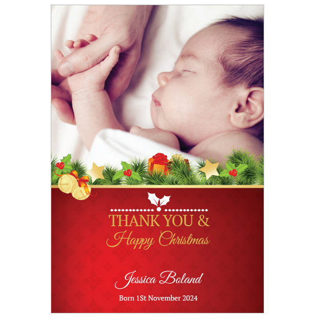 Bells & Holly - Christmas themed Baby Thank You Card by Cedar Tree Ireland