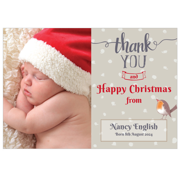 Christmas Robin - Christmas themed Baby Thank You Card by Cedar Tree Ireland