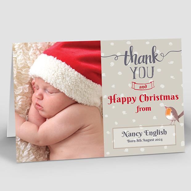 Christmas Robin, Christmas themed baby thank you card