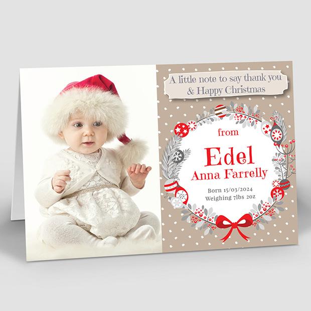 Christmas Wreath, Christmas themed baby thank you card