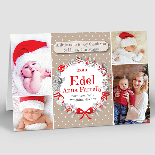 Christmas Wreath - 4 Photos, Christmas themed baby thank you card