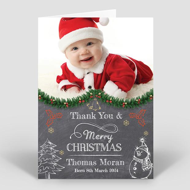 Blackboard Greetings - Christmas themed baby thank you card
