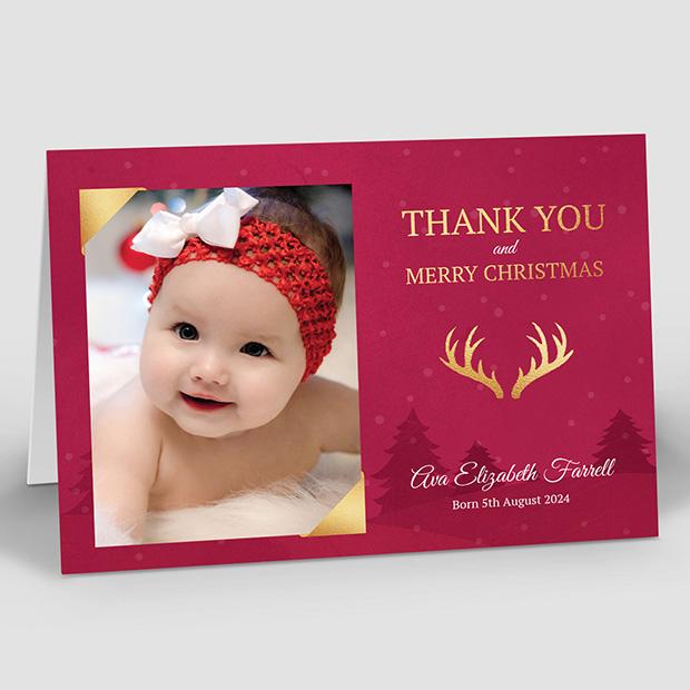 Christmas Eve, Christmas themed baby thank you card