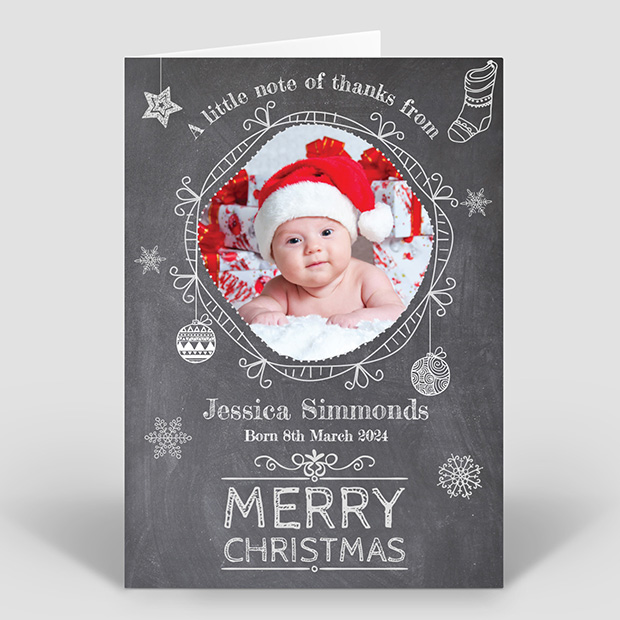 Chalkboard Christmas, Christmas themed baby thank you card