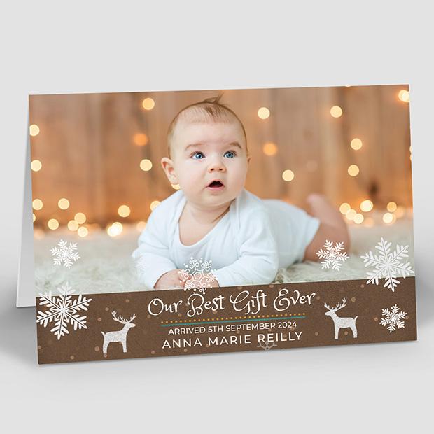 Christmas Gift, Christmas themed baby thank you card