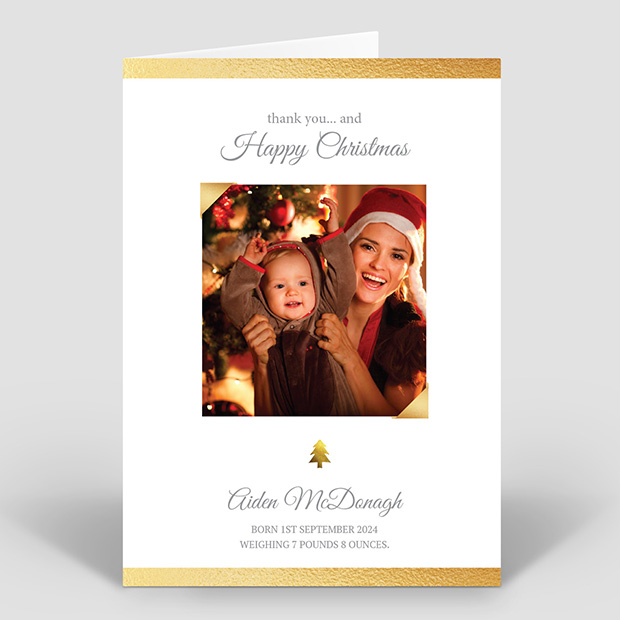 Gold Leaf, Christmas themed baby thank you card