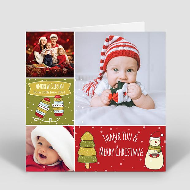 Christmas Trio, Christmas themed baby thank you card