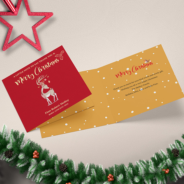 New Arrival - Christmas themed Baby Thank You Card by Cedar Tree Ireland