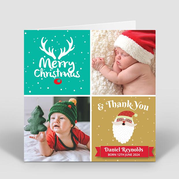 First Christmas, Christmas themed baby thank you card