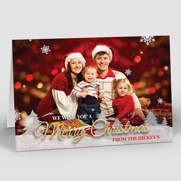 Family Christmas, Christmas themed baby thank you card