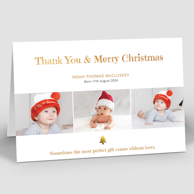 Best Present - Christmas themed baby thank you card
