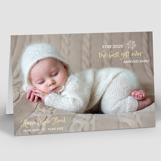 Early Gift, Christmas themed baby thank you card