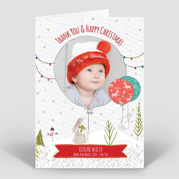 Bunny Fun – Christmas, Christmas themed baby thank you card