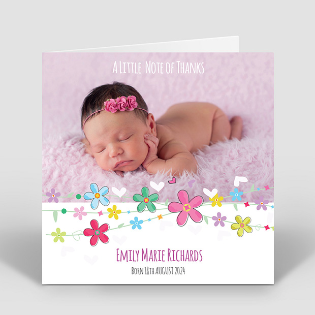 Colourful Flowers, baby thank you card for girls by Cedar Tree