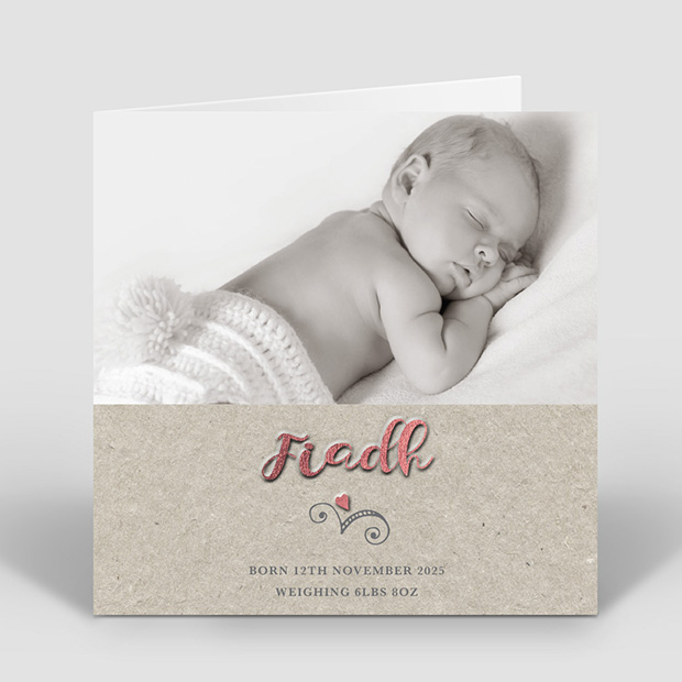 Paper Heart – Girl, baby thank you card for girls by cedar tree
