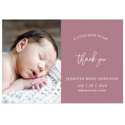 A Little Note - Girl, baby thank you card for girls, landscape format